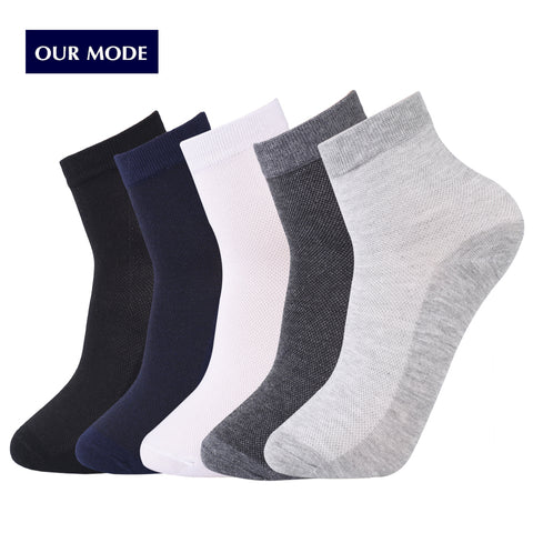 OUR MODE men summer comfortable breathable mesh thin cotton socks high quality brand short socks 1lot=5pairs