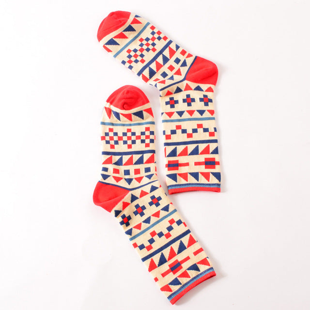 Colour crew cotton happy socks men/women british style casual harajuku