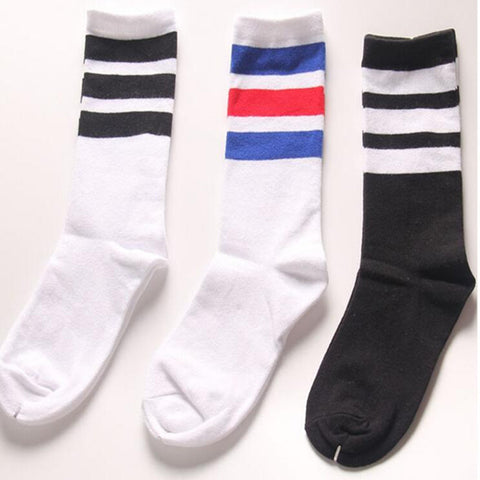 Classic Long Three Striped Skate Socks Retro Old School of  High Quality Cotton for Men Harajuku  Style White brand black