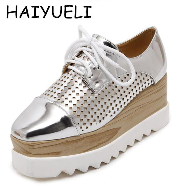 Women Platform Shoes Oxfords Brogue PU Leather Flats Lace Up Shoes