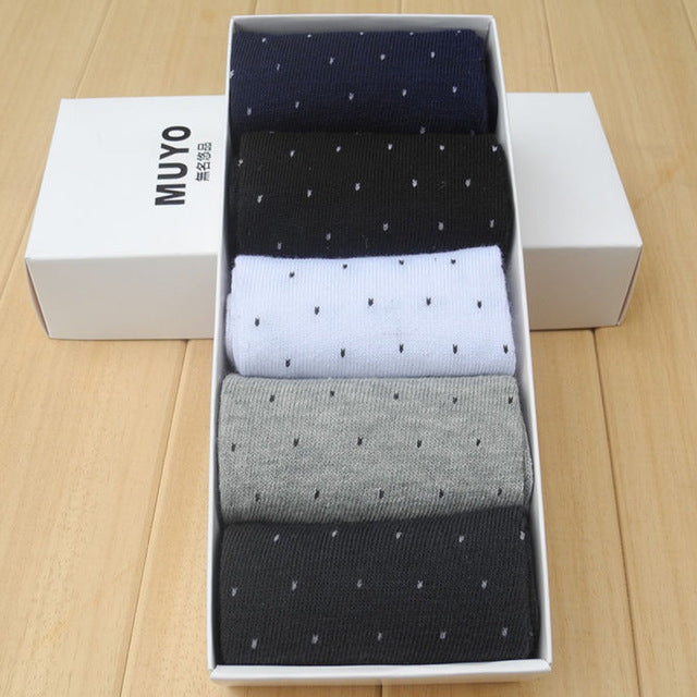 10Pcs=5 Pairs High quality Autumn And Winter Mens Socks Lovely Dots