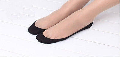 1Pair Black/Skin Women Girl Cotton Sock Lace Antiskid Invisible