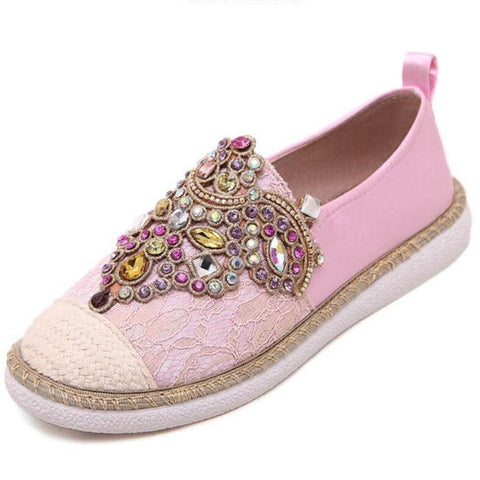 Spring Autumn Women Casual Flat Shoes Gem Round Toe loafers Fisherman Espadrilles Woman lazy Hemp Rope Weave Shoes Size 35-40