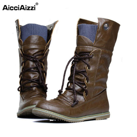 Plus Size 32-52 Vintage Motorcycle Ankle Boots For Women Winter Autumn Snow Boots Leather Flats Motorcycle Boots Shoes