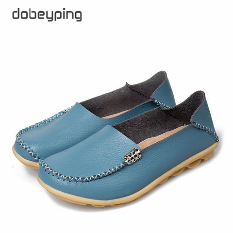 New Women Real Leather Shoes Comfortable Mother Loafers Soft Woman's Flats Leisure Female Driving Footwear Boat Shoe Size 35-44