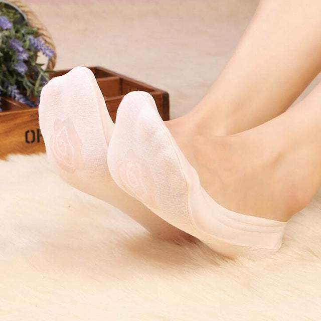 1 Pair Women Ladies Girl Cotton Rose Flower Antiskid Invisible Liner
