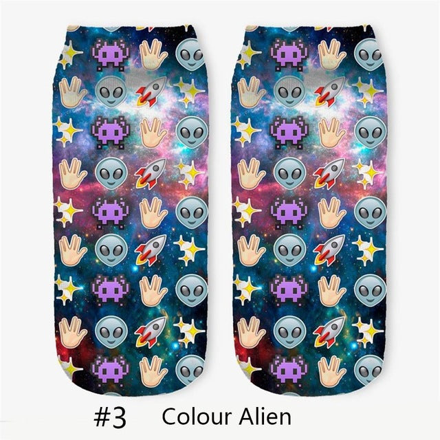 1 Pair Women Cute Casual Cartoon Soft Cotton 3D Printed Creative