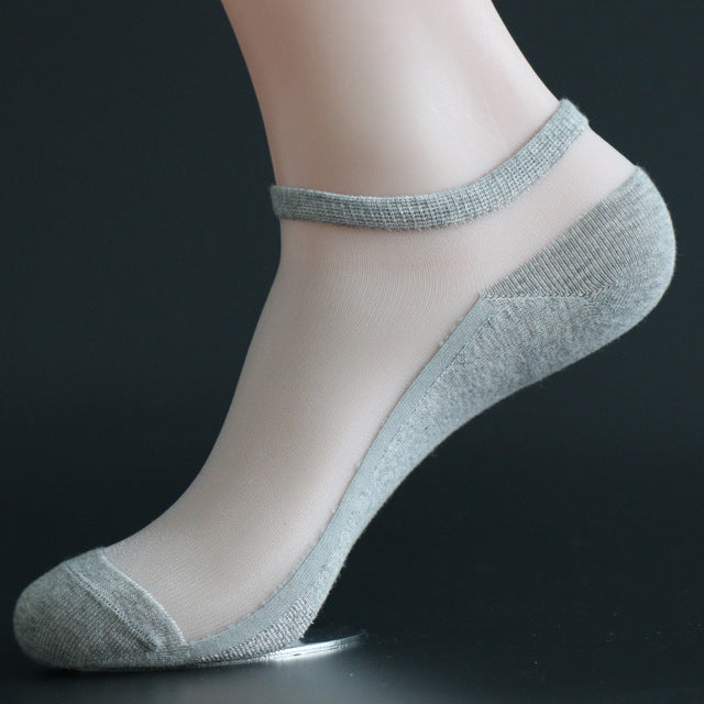 1 Pair Spring Summer Women Girl Fashion Transparent Ankle Socks