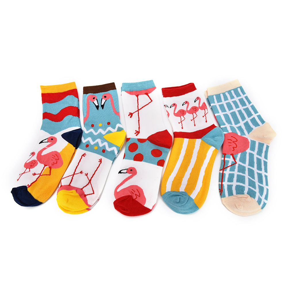 1 Pair Cute Flamingo Women Autumn Winter Fashion Brand Cotton Socks