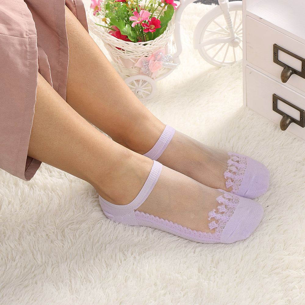 1 Pair Fashion Women Lace Solid Sexy Short Invisble Ankle