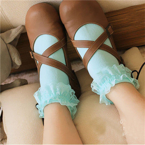 1 Pair Sweet Retro Female Crystal Lace Bowknot Cotton Bow Elastic