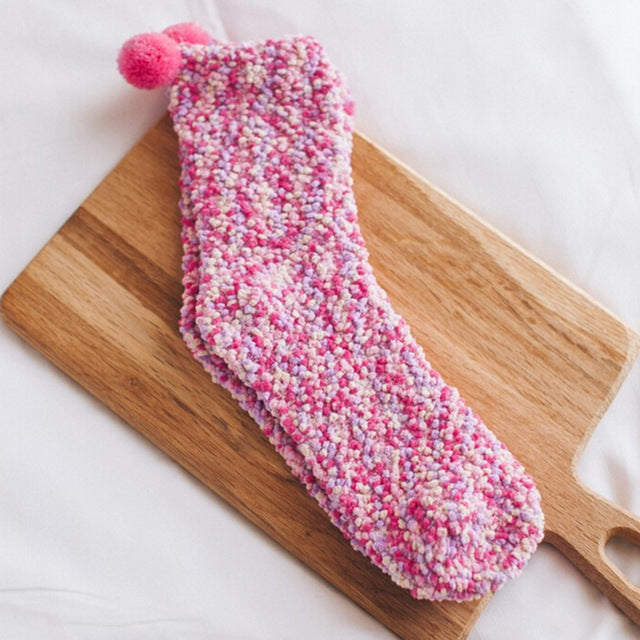 1 pair Colorful Women Girls Bed Socks Fluffy Warm Winter Kids Gift