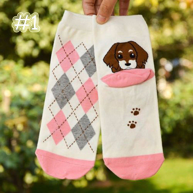 1 pc Fashion Unisex Cute Animals Funny Puppy Print Cotton Short