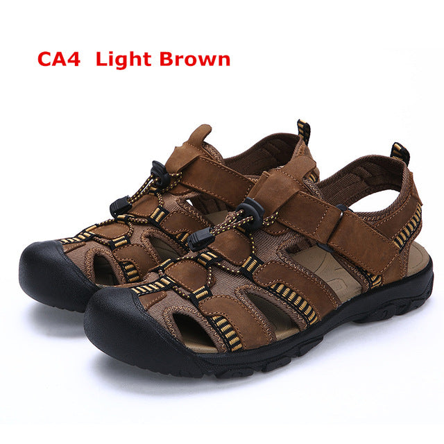4fb335056024 Misalwa 2017 Hot Sale Genuine Leather Breathable Men Casual Sandals ...