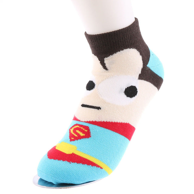 1 Pair Casual Summer/Spring/Winter Warm Super Hero Cartoon Printed Men