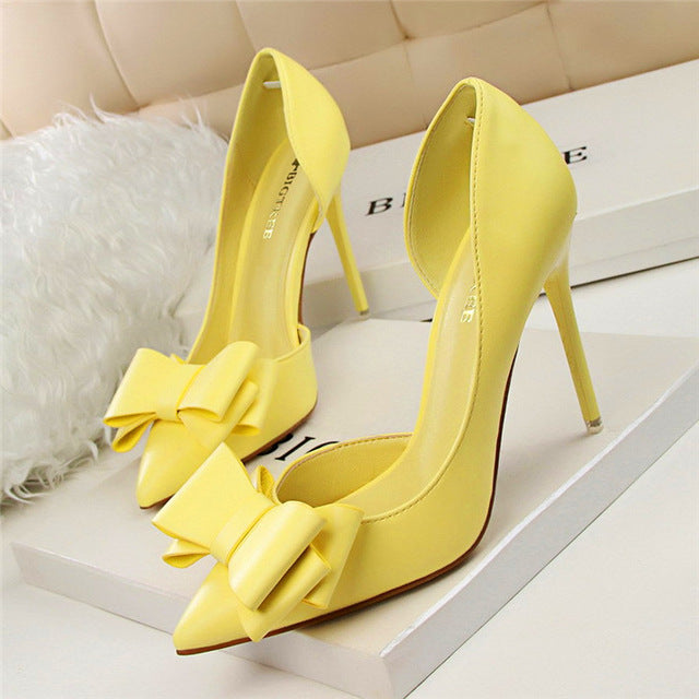 7 Colors Korean Sweet Bowtie Pointed Toe Women Pumps New Fashion