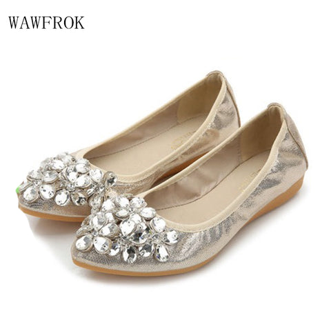 2017 Flats Women Shoes Fashion Pointed Toe Women Casual Shoes Shallow Mouth Rhinestone Comfortable Soft Single Shoes