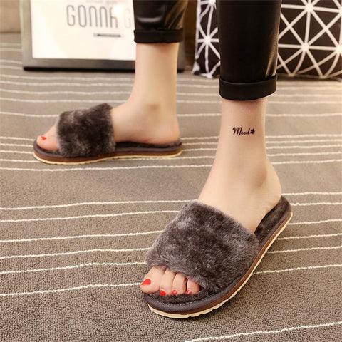 2017 Winter Women Flips Flops Shoes Woman Slippers Fashion Comfortable Female Slides Ladies Shoes Woman Flat Warm Slippers Women