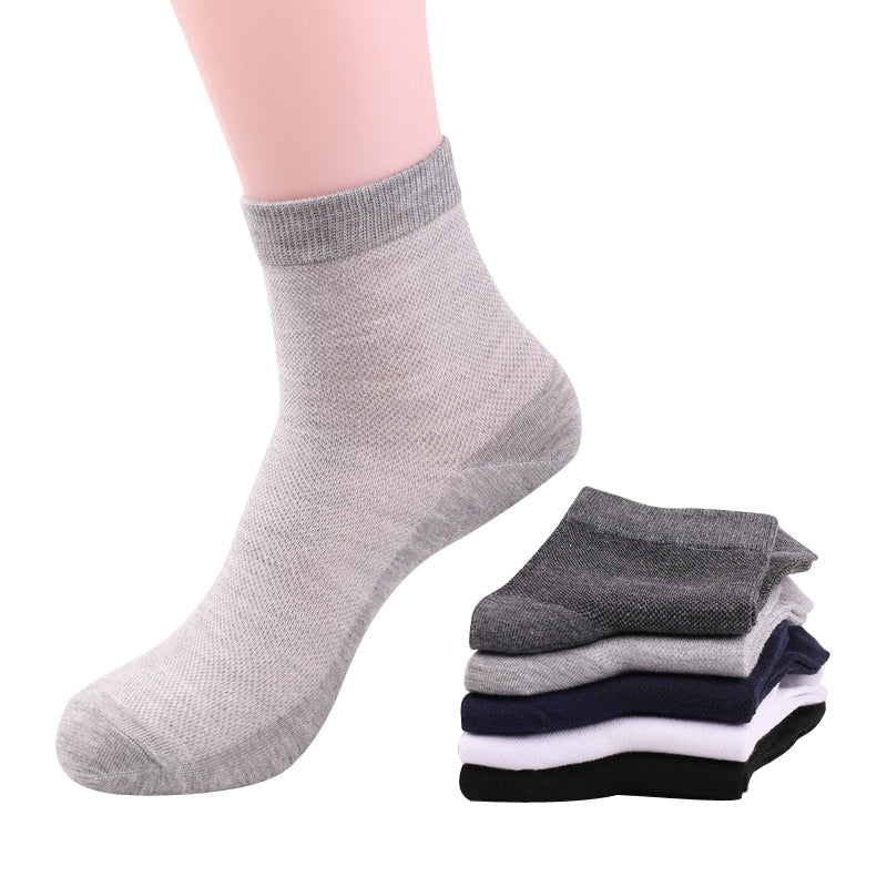 summer men breathable mesh thin cotton socks male black business short