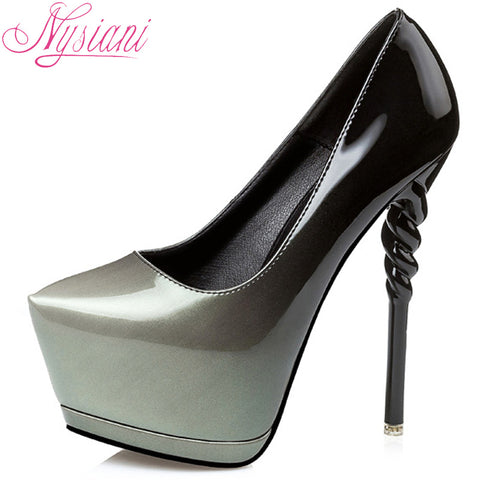 Nysiani Fashion Silver High Heel Shoes Woman 2017 New Spring Pointed Toe Dress Pumps Slip-on Sexy Platform Pumps For Women