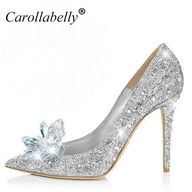 2017 New Glitter Rhinestone High Heels Cinderella Shoes Women Pumps