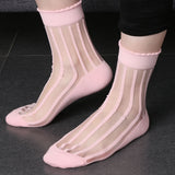 1  Pair Fashion Women Striped Glass Socks Transparent Crystal Mesh