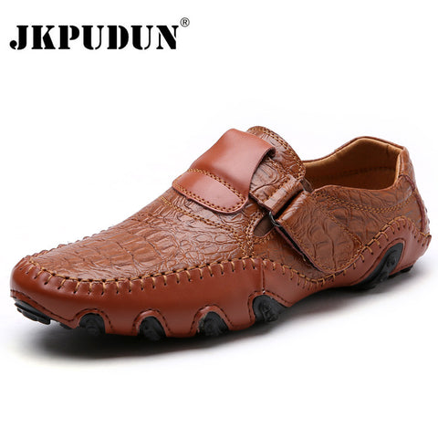 JKPUDUN Handmade Genuine Leather Mens Shoes Casual Luxury Brand Men Loafers Fashion Breathable Driving Shoes Slip On Moccasins