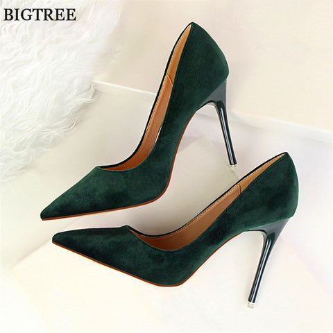 9 Colors Classics Women's Shallow Office Shoes New Arrival Concise Solid Flock Pointed Toe Women Pumps Fashion High Heels Shoes