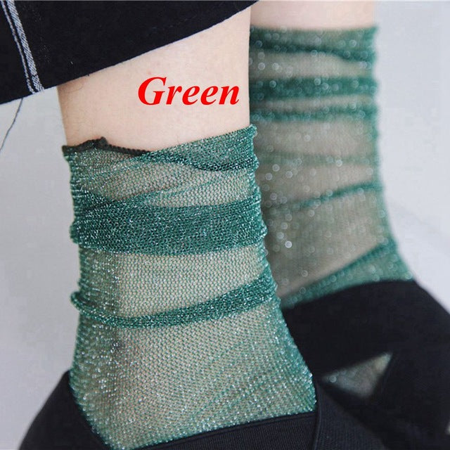 1Pair 2017 Hot Fashion Sexy Women Lady Girl Summer Glitter Mesh