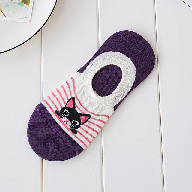 CAT Comfortable Summer Boat Socks Woman Cotton Cartoon Socks Invisible
