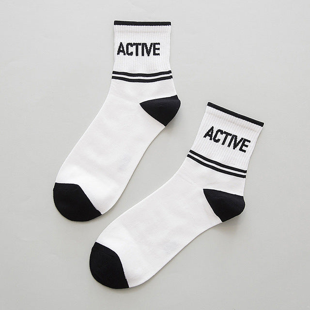 2017 Fashion Skate Cotton Crew Socks Pattern Men Women Tide Brand