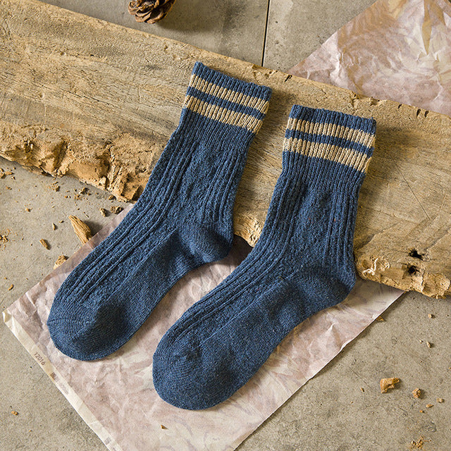 1Pair Knitted Winter Warm Socks Design Solid Color Male Stripe Socks