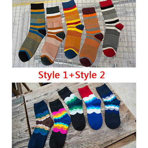 10 Pairs/Lot Fashion Brand Men Socks Meias Colored Striped Cotton Sock