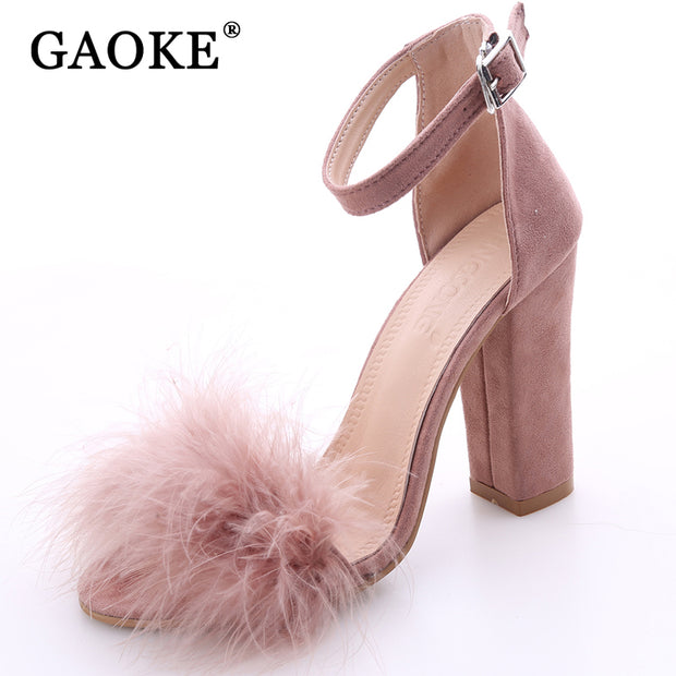 2017 Sexy Women Suede Pumps Open Toe Heels Sandals Woman Sandals Ankle