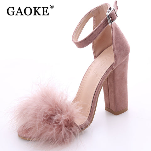 2017 Sexy Women Suede Pumps Open Toe Heels Sandals Woman Sandals Ankle Strap Fur Wedding Shoes Women High Heels Dress Shoes