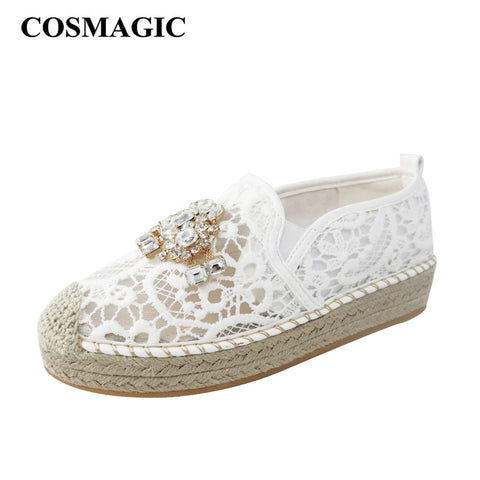 2017 Platform Lace Rhinestone Espadrilles Shoes Flats Shoes Luxury Brand Cut outs Hemp Rope Women Loafer Shoes Free Shipping