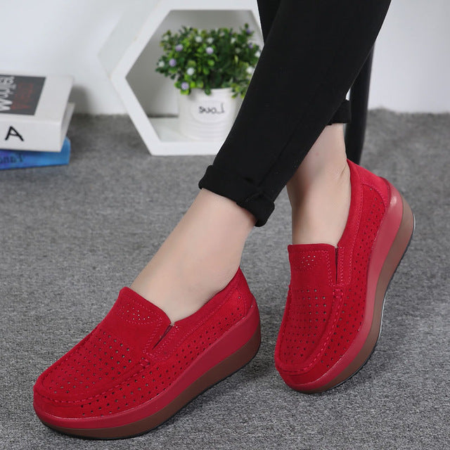 EOFK Women Flat Platform Loafers Ladies Elegant Suede Leather