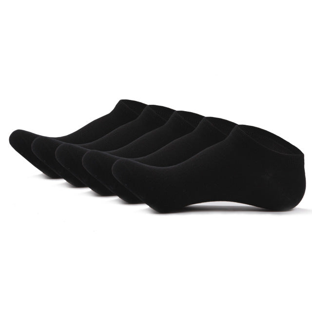 SKCOSOCKS Men Cotton Ankle Socks Men's Business Casual Solid Black