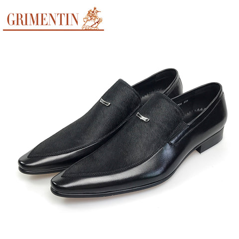 GRIMENTIN Fashion mens shoes dress genuine leather black business male shoes 2017