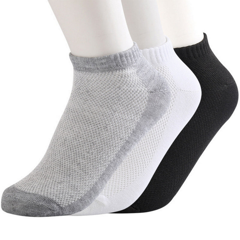 10pairs Eur38-43 spring summer breathable mesh ankle socks for men