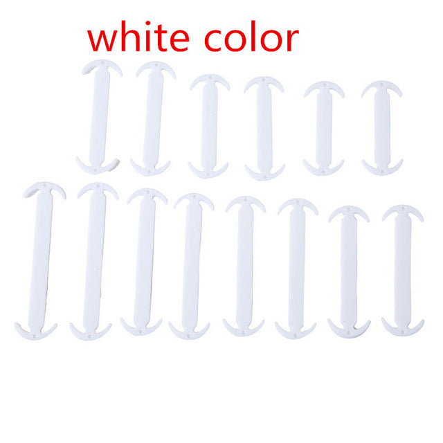 14PCs/ Lot No Tie Black Elastic Shoelaces Silicone Shoe Lace Unisex