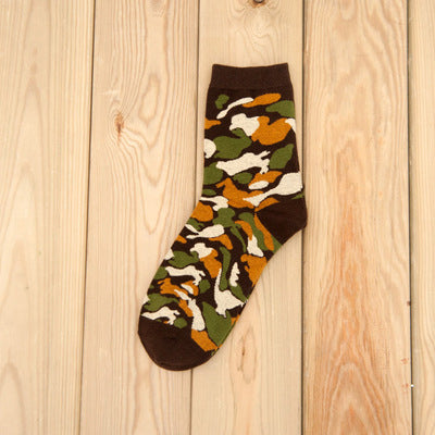 1pair Men Socks Military Graffiti Green Mens Cotton Socks Jungle Style
