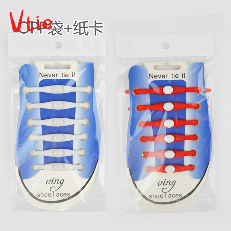 12pcs/pack No tie Shoelaces for lazy man 9 colors silicone shoe