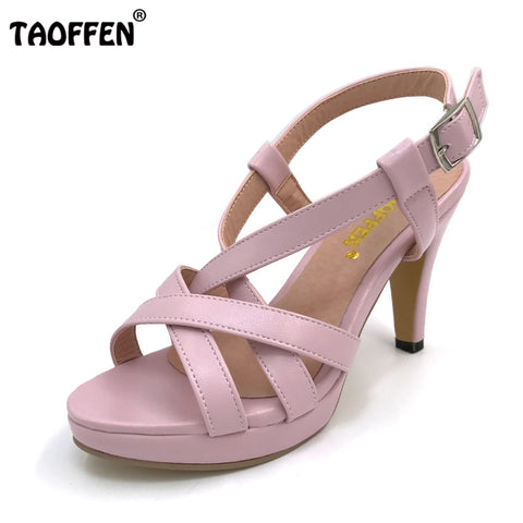 TAOFFEN Size 32-43 Women's High Heel Sandals Gladiator Shoes Women Lady Sexy Platform Sandals Heels Summer Shoes Sandals PA00905