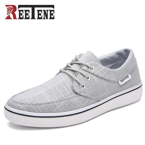 REETENE Canvas Shoes For Men New Arrival Spring Autumn Casual Shoes Mens Shoes Lace-Up Canvas Flat Fashion Loafers Shoe