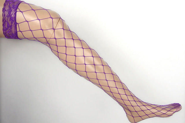 1 pair 4 Colors Women Net Sexy Lady Large Mesh Fishnet Over Knee Thigh