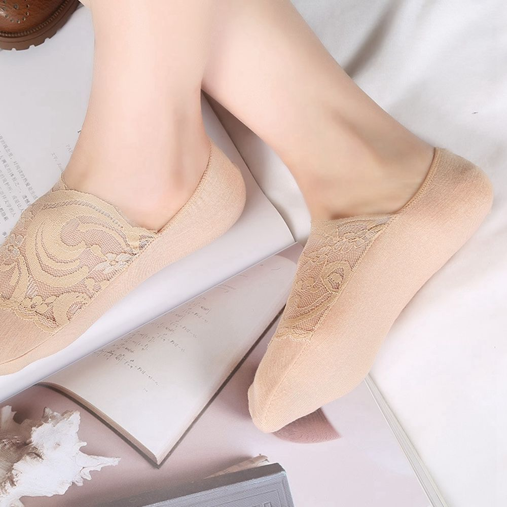 1 Pair 2017 Lasted Women Summer Antiskid Invisible Liner Cotton Lace