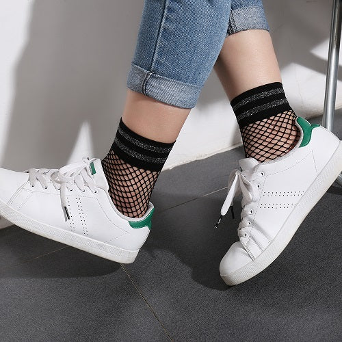1 Pair Women Casual Striped Fishnet Ankle Socks Summer Soft Breathable