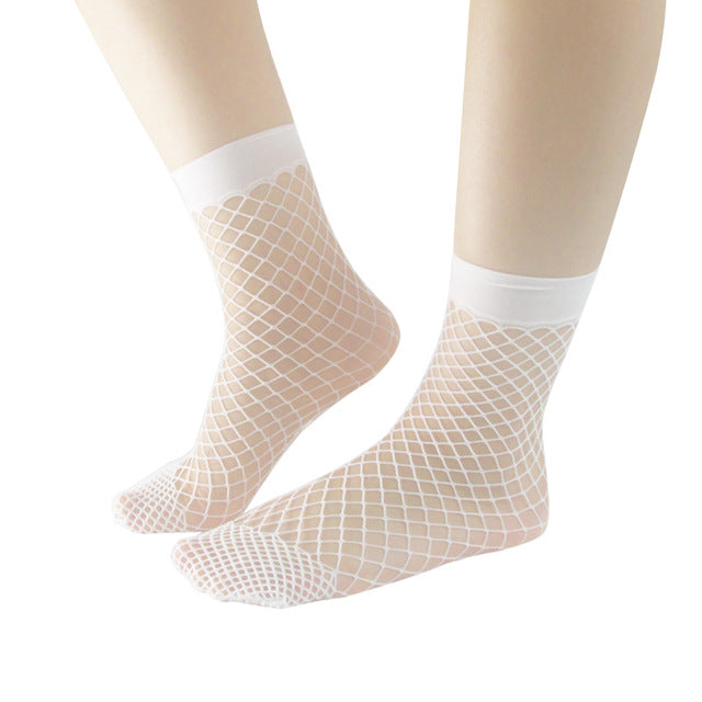 2017 Latest Fashion Women Girls Fishnet Ankle High Socks Mesh Lace