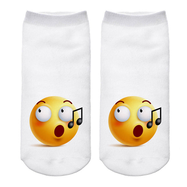 Hot Sale 3d Emoji Printing Expression Women Socks Funny Low Ankle